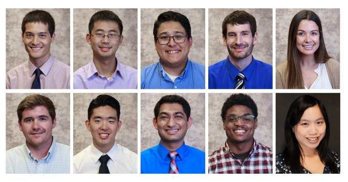 Collage of the ten 2019 cohort of residents