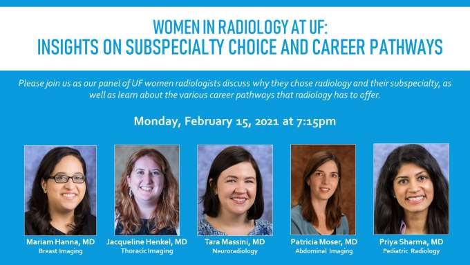 Women in Radiology February meeting flyer featuring headshots of panelists: Doctors Mariam Hanna, Jacqueline Henkel, Tara Massini, Patricia Moser, and Priya Sharma